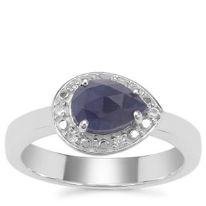Rose Cut Bharat Sapphire Ring with White Zircon in Sterling Silver 1.67cts