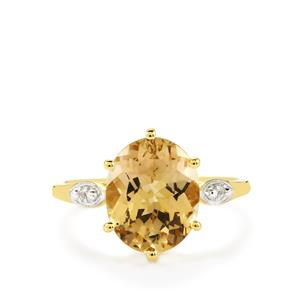 Champagne Danburite Ring with White Zircon in 10K Gold 3.54cts