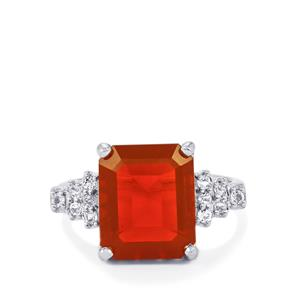 AAA Orange American Fire Opal Ring with White Topaz in Sterling Silver 4cts