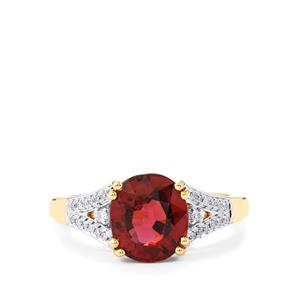 Malawi Garnet Ring with Diamond in 14k Gold 3.33cts