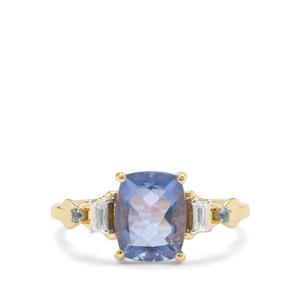 Colour Change Fluorite, Marambaia London Blue Topaz & White Zircon 9K Gold Ring ATGW 2.54cts