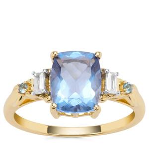 Colour Change Fluorite, Marambaia London Blue Topaz Ring with White Zircon in 9K Gold 2.54cts