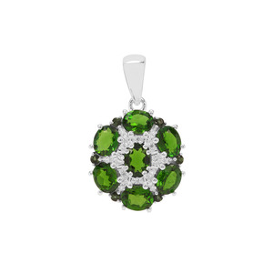 Chrome Diopside, Paraiba Tourmaline & White Zircon Sterling Silver Pendant ATGW 3.03cts