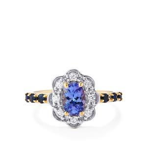 AA Tanzanite, Sri Lankan Sapphire Ring with White Zircon in 10K Gold 1.39cts