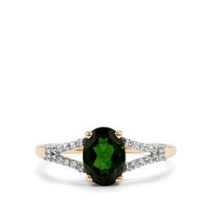 Chrome Diopside & White Zircon 9K Gold Ring ATGW 1.42cts