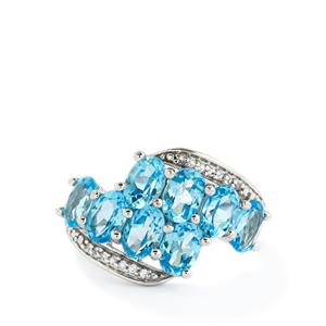 4.64ct Swiss Blue & White Topaz Sterling Silver Ring