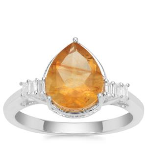 Burmese Amber Ring with White Zircon in Sterling Silver 0.95ct