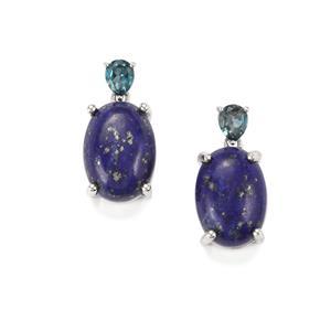 Sar-i-Sang Lapis Lazuli & London Blue Topaz Platinum Plated Sterling Silver Earrings ATGW 14.83cts