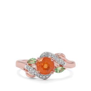 Mandarin & Tsavorite Garnet & White Zircon Rose Midas Ring ATGW 1.69cts