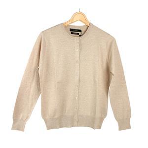 Daryl by Destello 100% Cotton Destello Alice Knitwear (Crew Neck Button Cardigan) (Beige)
