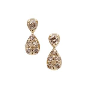 Champagne Argyle Diamond Earrings in 9K Gold 0.26ct