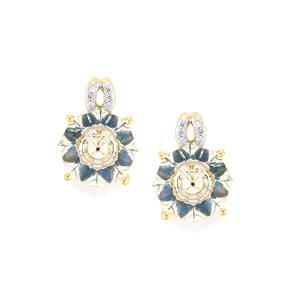 Lehrer KaleidosCut White Topaz, Ceylon Sapphire & Diamond 9K Gold Earrings ATGW 6.77cts