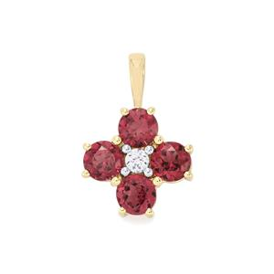 Malawi Garnet Pendant with White Zircon in 10K Gold 2.66cts