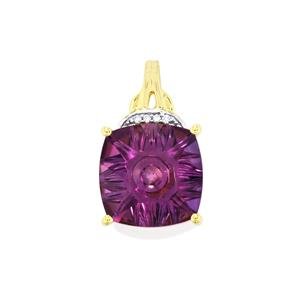 Lehrer QuasarCut Ametista Amethyst Pendant with Diamond in 10k Gold 5.26cts