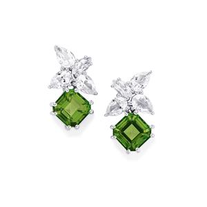 Fern Green Quartz & White Topaz Sterling Silver Earrings ATGW 8.29cts