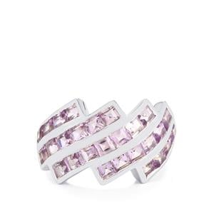 Rose De France Amethyst Ring in Sterling Silver 3.76cts