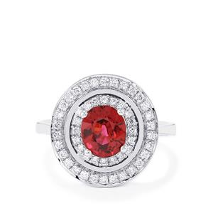 Malawi Garnet Ring with Diamond in 14K White Gold 1.96cts