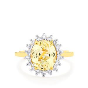 Canary Kunzite & White Zircon Gold Vermeil Ring ATGW 3.65cts
