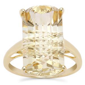 Lehrer Matrix Cut Champagne Quartz Ring in 9K Gold 10.79cts