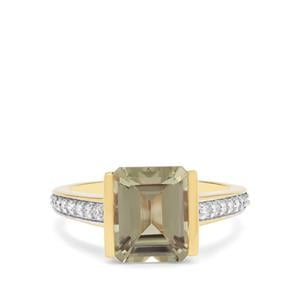 Csarite® Ring with Diamond in 18K Gold 4cts