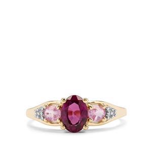 Comeria Garnet, Pink Sapphire & White Zircon 9K Gold Ring ATGW 1.55cts