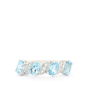 2.19ct Swiss Blue & White Topaz Sterling Silver Ring