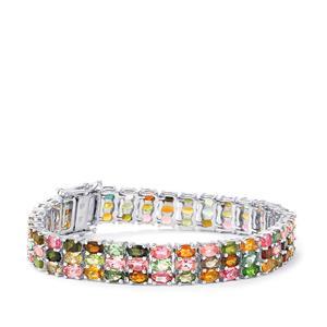 25.19ct Rainbow Tourmaline Sterling Silver Bracelet