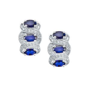 Sri Lankan Sapphire Earrings with White Topaz in Sterling Silver 2.30cts