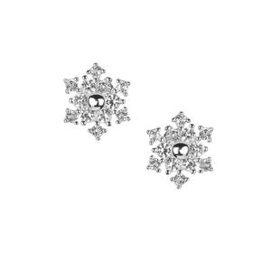 White Topaz Snowflake Earrings in Sterling Silver 0.45cts