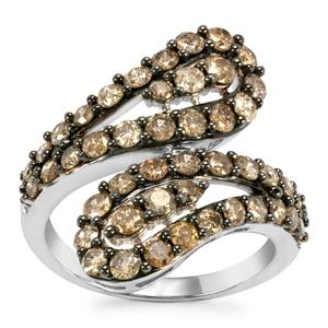 Champagne Diamond Ring in Sterling Silver 2ct