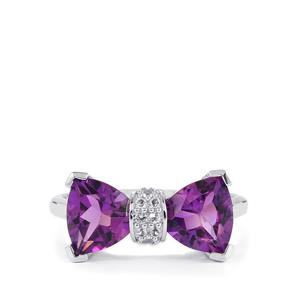 Ametista Amethyst Ring with White Topaz in Sterling Silver 3.10cts