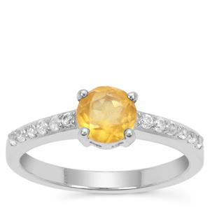 Burmese Amber Ring with White Zircon in Sterling Silver 0.60ct