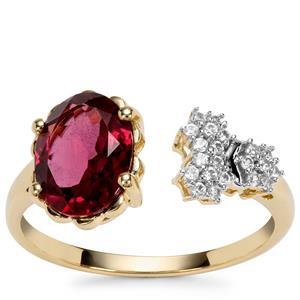 Savanna Pink Garnet Ring with White Zircon in 9K Gold 2.04cts