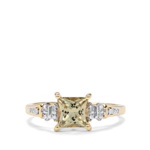 Csarite® & Diamond 9K Gold Ring ATGW 1.24cts