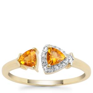 Madeira Citrine Ring with Diamond in 9K Gold 0.43ct