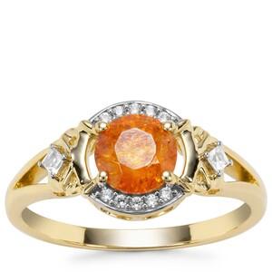 Aliva Sphalerite Ring with White Zircon in 9K Gold 1.26cts