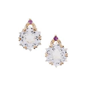 Wobito Snowflake Cut White Topaz & Bahia Amethyst 9K Gold Earrings ATGW 5.90cts