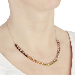 Rainbow Gemstone Sterling Silver Necklace ATGW 13.16cts