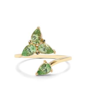 Tsavorite Garnet & Green Diamond 9K Gold Ring ATGW 1.60cts