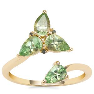 Tsavorite Garnet Ring with Green Diamond in 9K Gold 1.60cts