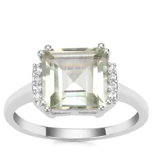 Prasiolite Ring with White Topaz in Sterling Silver 3.34cts