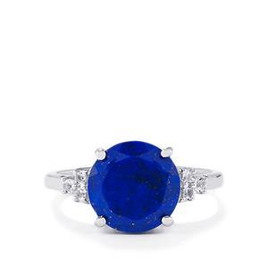 Sar-i-Sang Lapis Lazuli & White Topaz Sterling Silver Ring ATGW 3.51cts