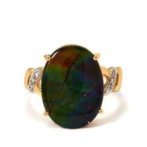AA Ammolite & White Zircon 9K Gold Ring (12x16m)
