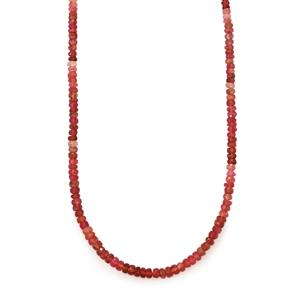Shaded Pink Tourmaline Bead Necklace in Sterling Silver 60cts