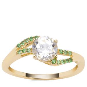 Ratanakiri Zircon Ring with Tsavorite Garnet in 9K Gold 1.66cts