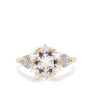 Wobito Snowflake Cut Itinga Petalite Ring with Diamond in 9K Gold 3.74cts