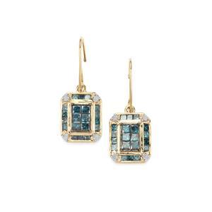 1.25ct Blue & White Diamond 9K Gold Tomas Rae Earrings