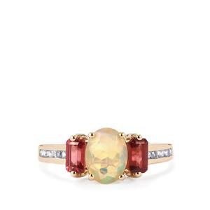 Ethiopian Opal, Pink Spinel  Ring with White Zircon in 10K Gold 1.71cts