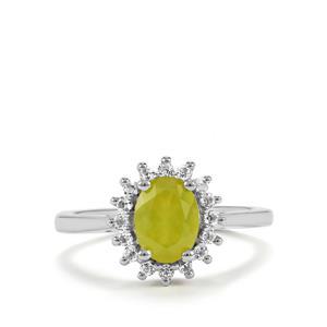 Mali Opal & White Topaz Sterling Silver Ring ATGW 1.19cts