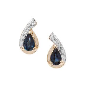 Australian Blue Sapphire & White Zircon 9K Gold Earrings ATGW 0.54cts